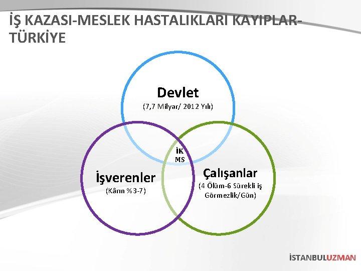 İŞ KAZASI-MESLEK HASTALIKLARI KAYIPLARTÜRKİYE Devlet (7, 7 Milyar/ 2012 Yılı) İK MS İşverenler (Kârın