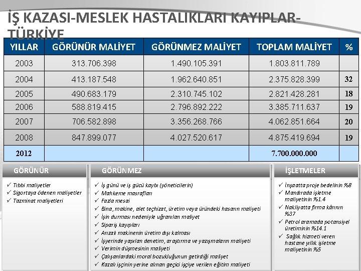 İŞ KAZASI-MESLEK HASTALIKLARI KAYIPLARTÜRKİYE YILLAR GÖRÜNÜR MALİYET GÖRÜNMEZ MALİYET TOPLAM MALİYET 2003 313. 706.