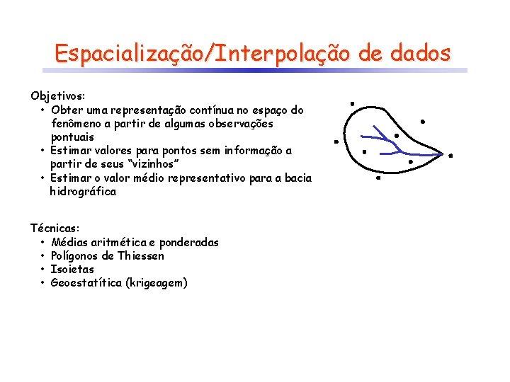 Espacialização/Interpolação de dados Objetivos: • Obter uma representação contínua no espaço do fenômeno a