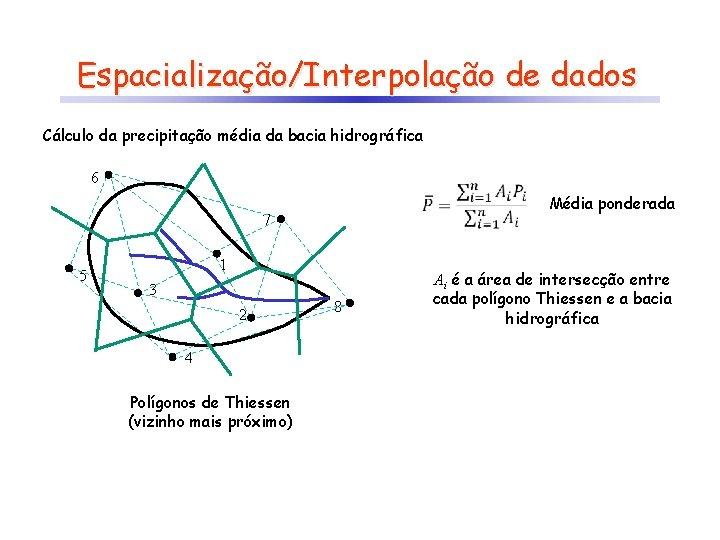 Espacialização/Interpolação de dados Cálculo da precipitação média da bacia hidrográfica 6 7 5 1