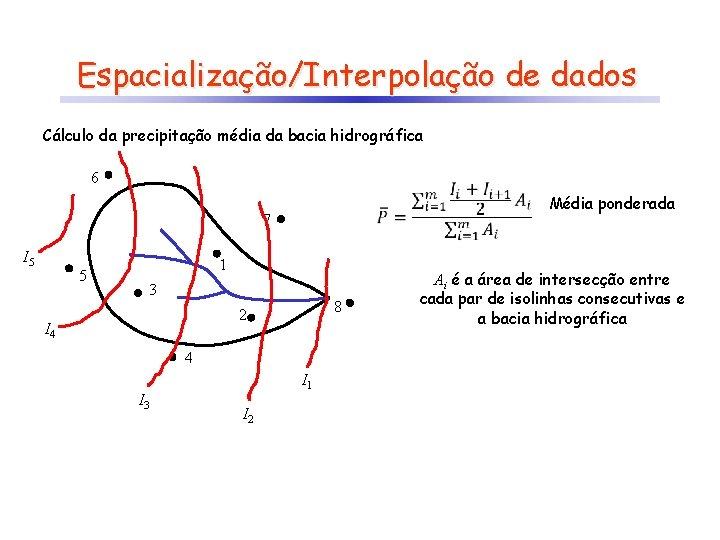 Espacialização/Interpolação de dados Cálculo da precipitação média da bacia hidrográfica 6 7 I 5