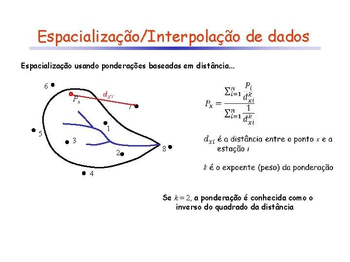 Espacialização/Interpolação de dados Espacialização usando ponderações baseadas em distância. . . 6 Px 5