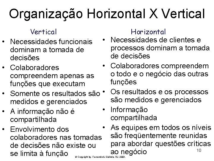 Organização Horizontal X Vertical • • • Vertical Necessidades funcionais • dominam a tomada
