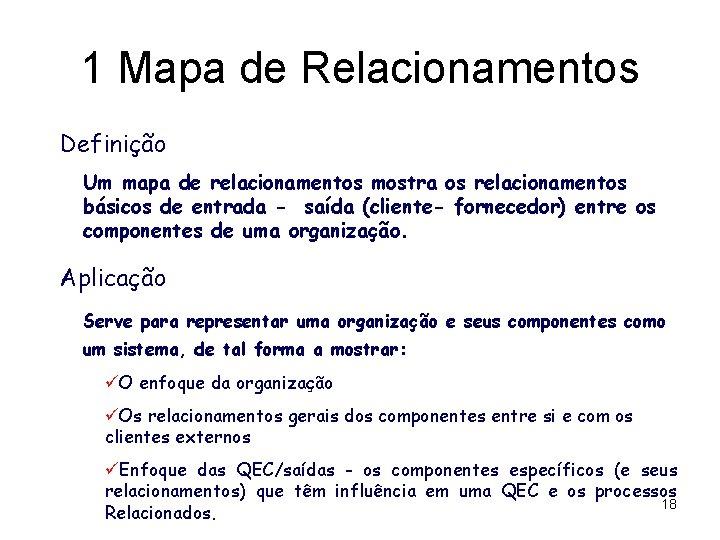 1 Mapa de Relacionamentos Definição Um mapa de relacionamentos mostra os relacionamentos básicos de
