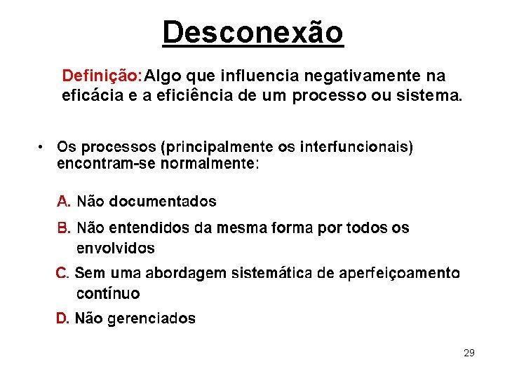 Desconexão Definição: Algo que influencia negativamente na eficácia e a eficiência de um processo