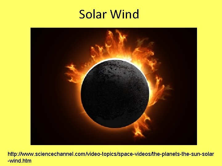 Solar Wind http: //www. sciencechannel. com/video-topics/space-videos/the-planets-the-sun-solar -wind. htm