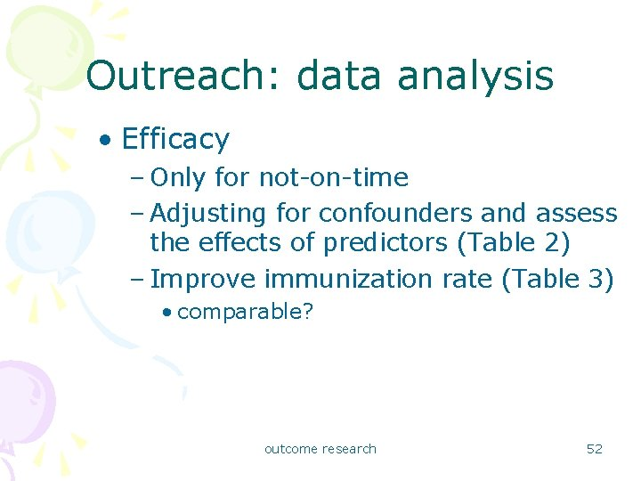 Outreach: data analysis • Efficacy – Only for not-on-time – Adjusting for confounders and