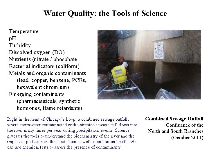 Water Quality: the Tools of Science Temperature p. H Turbidity Dissolved oxygen (DO) Nutrients