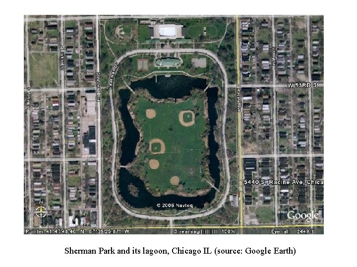 Sherman Park and its lagoon, Chicago IL (source: Google Earth)
