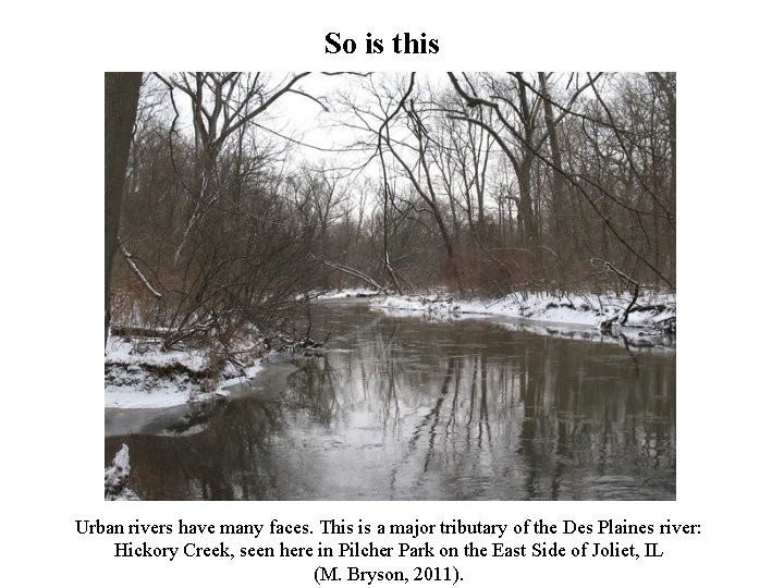 So is this Urban rivers have many faces. This is a major tributary of
