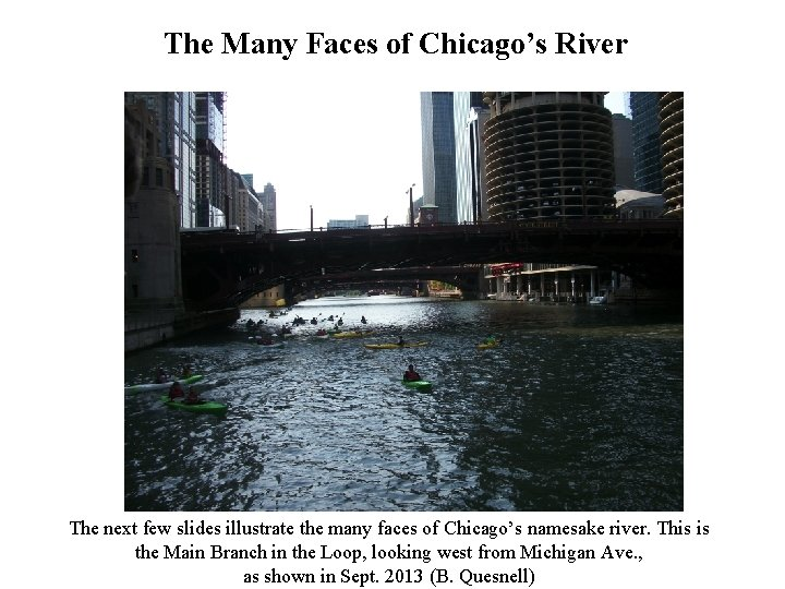 The Many Faces of Chicago's River The next few slides illustrate the many faces