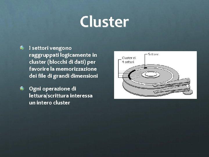 Cluster I settori vengono raggruppati logicamente in cluster (blocchi di dati) per favorire la