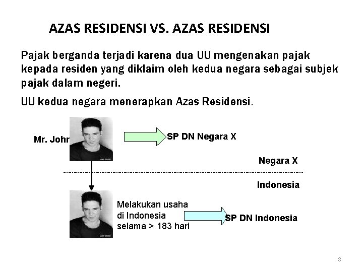 AZAS RESIDENSI VS. AZAS RESIDENSI Pajak berganda terjadi karena dua UU mengenakan pajak kepada