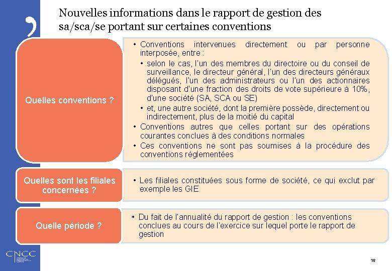 Nouvelles informations dans le rapport de gestion des sa/sca/se portant sur certaines conventions Quelles