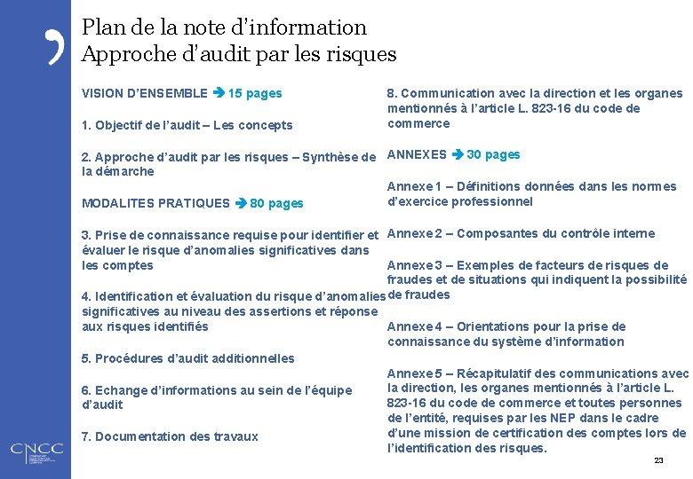 Plan de la note d'information Approche d'audit par les risques VISION D'ENSEMBLE 15 pages
