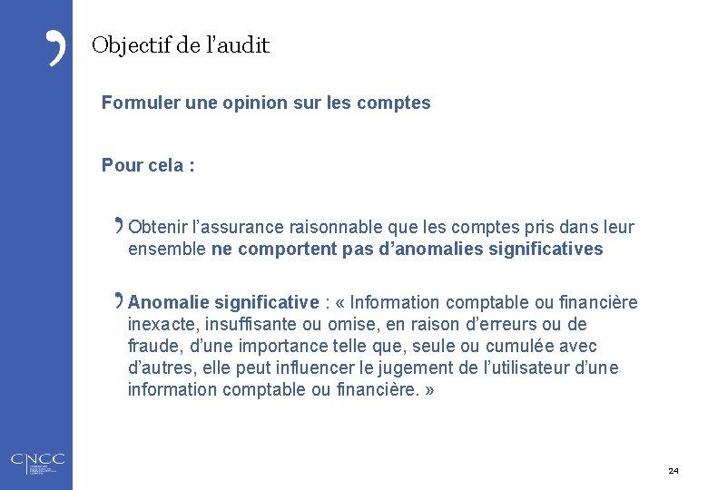 Objectif de l'audit Formuler une opinion sur les comptes Pour cela : Obtenir l'assurance