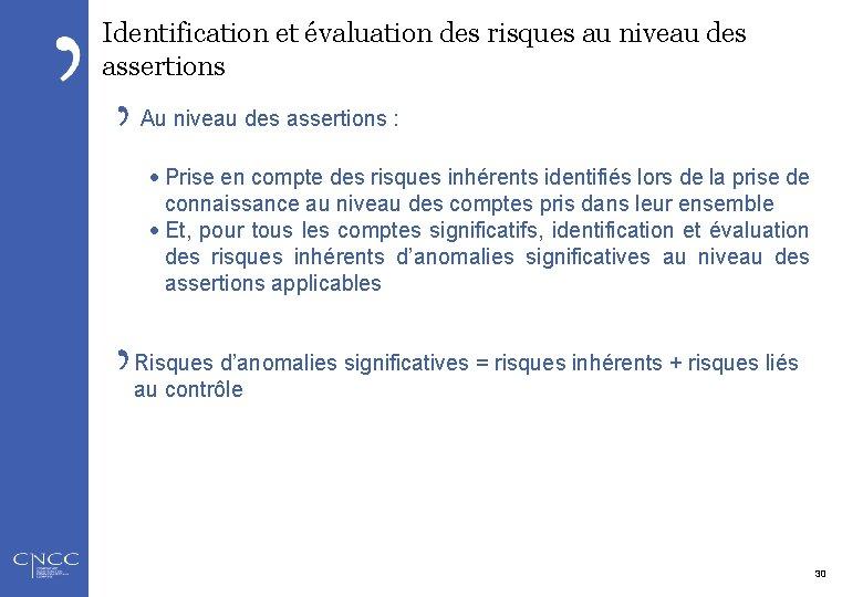 Identification et évaluation des risques au niveau des assertions Au niveau des assertions :