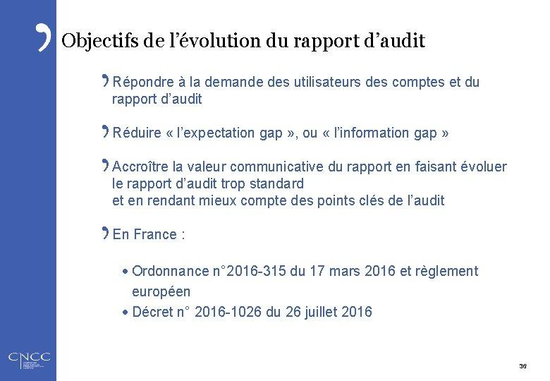 Objectifs de l'évolution du rapport d'audit Répondre à la demande des utilisateurs des comptes