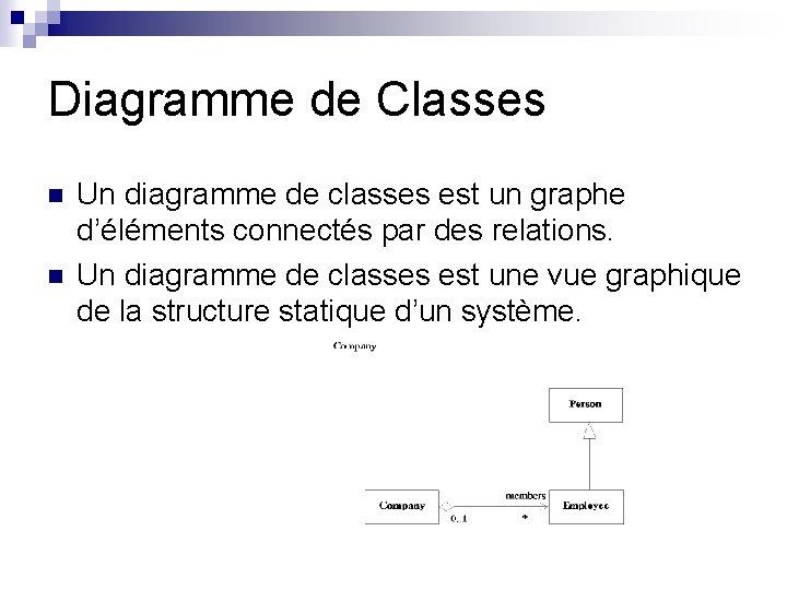 Diagramme de Classes n n Un diagramme de classes est un graphe d'éléments connectés