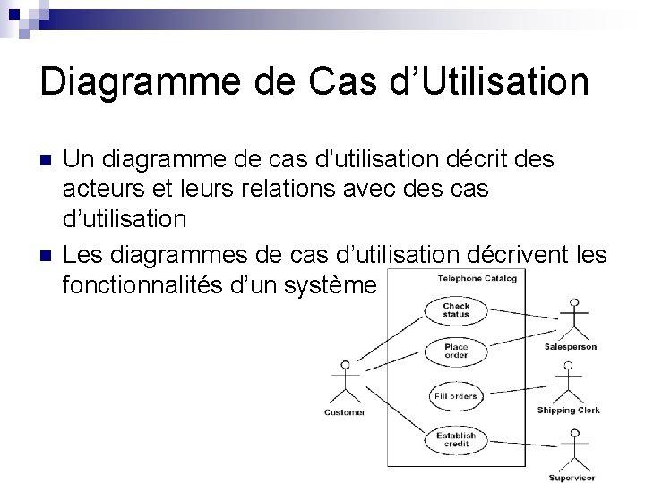 Diagramme de Cas d'Utilisation n n Un diagramme de cas d'utilisation décrit des acteurs