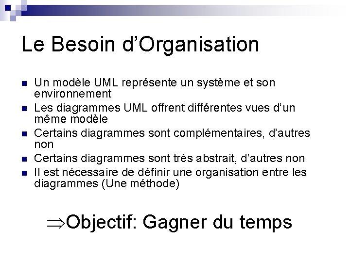 Le Besoin d'Organisation n n Un modèle UML représente un système et son environnement
