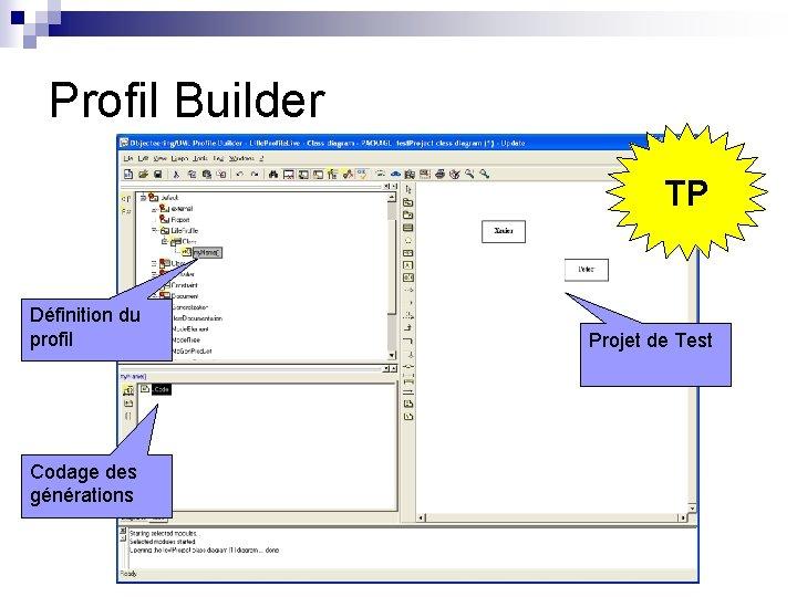 Profil Builder TP Définition du profil Codage des générations Projet de Test