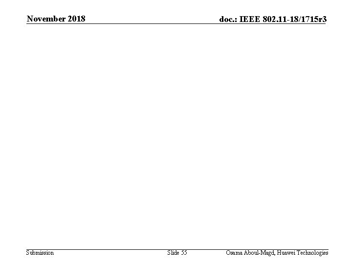November 2018 Submission doc. : IEEE 802. 11 -18/1715 r 3 Slide 55 Osama