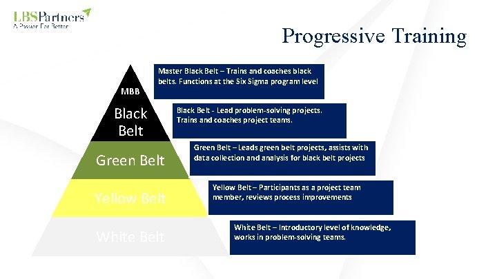 Progressive Training MBB Master Black Belt – Trains and coaches black belts. Functions at