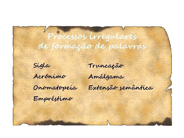 Processos irregulares de formação de palavras Sigla Truncação Acrónimo Amálgama Onomatopeia Extensão semântica Empréstimo