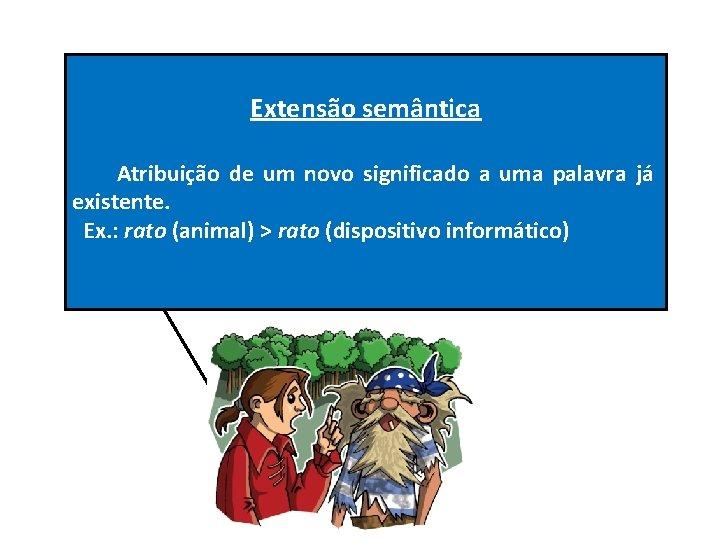 Extensão semântica Atribuição de um novo significado a uma palavra já existente. Ex. :