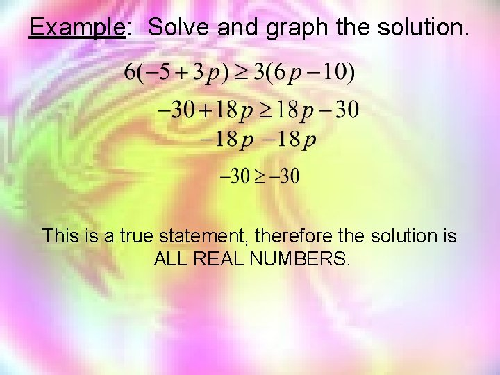 Example: Solve and graph the solution. This is a true statement, therefore the solution