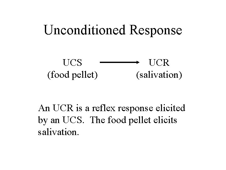 Unconditioned Response UCS (food pellet) UCR (salivation) An UCR is a reflex response elicited
