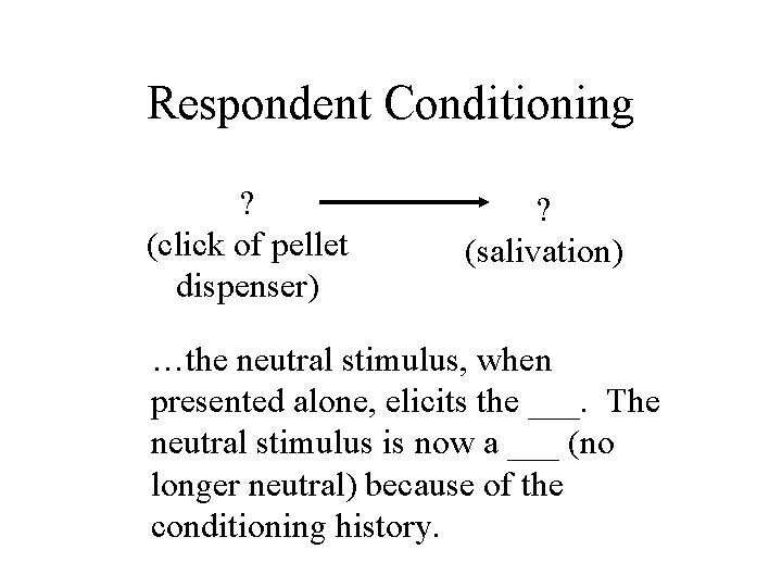 Respondent Conditioning ? (click of pellet dispenser) ? (salivation) …the neutral stimulus, when presented