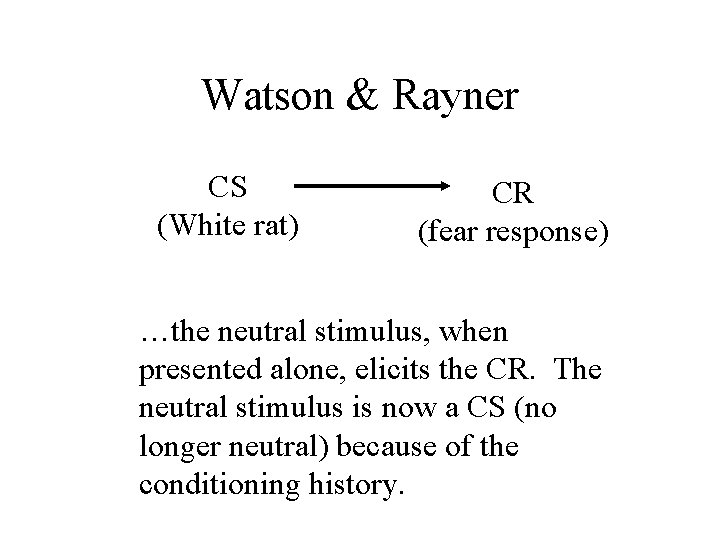 Watson & Rayner CS (White rat) CR (fear response) …the neutral stimulus, when presented