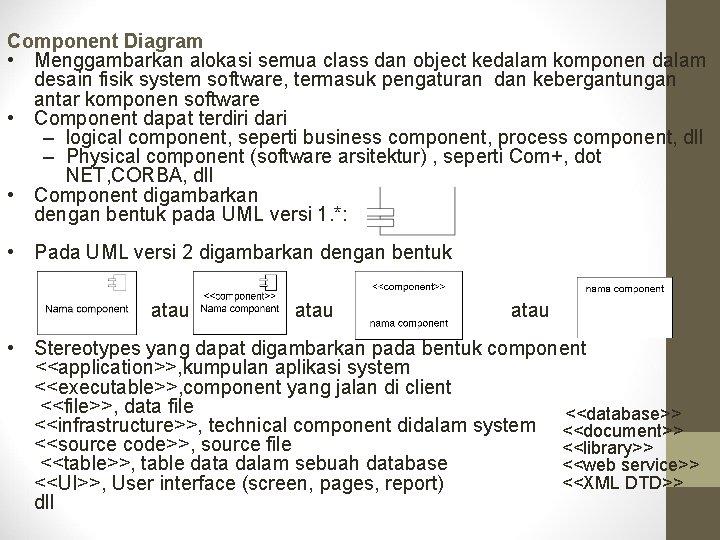 Component Diagram • Menggambarkan alokasi semua class dan object kedalam komponen dalam desain fisik