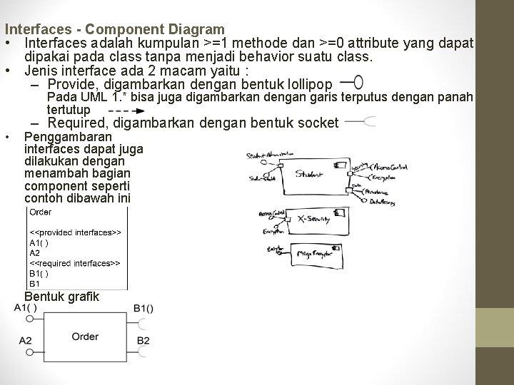 Interfaces - Component Diagram • Interfaces adalah kumpulan >=1 methode dan >=0 attribute yang