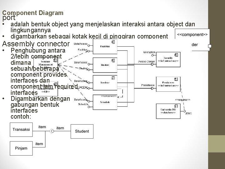 Component Diagram port • adalah bentuk object yang menjelaskan interaksi antara object dan lingkungannya