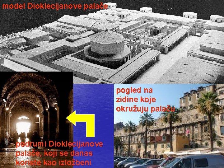 model Dioklecijanove palače pogled na zidine koje okružuju palaču podrumi Dioklecijanove palače, koji se