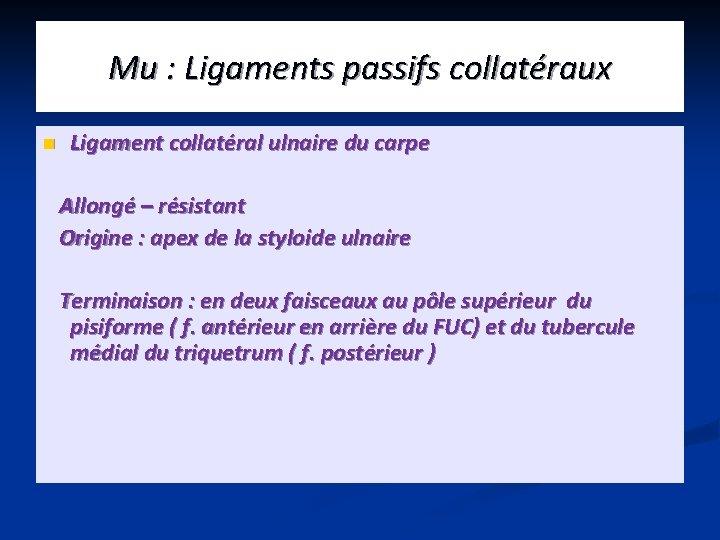 Mu : Ligaments passifs collatéraux n Ligament collatéral ulnaire du carpe Allongé – résistant