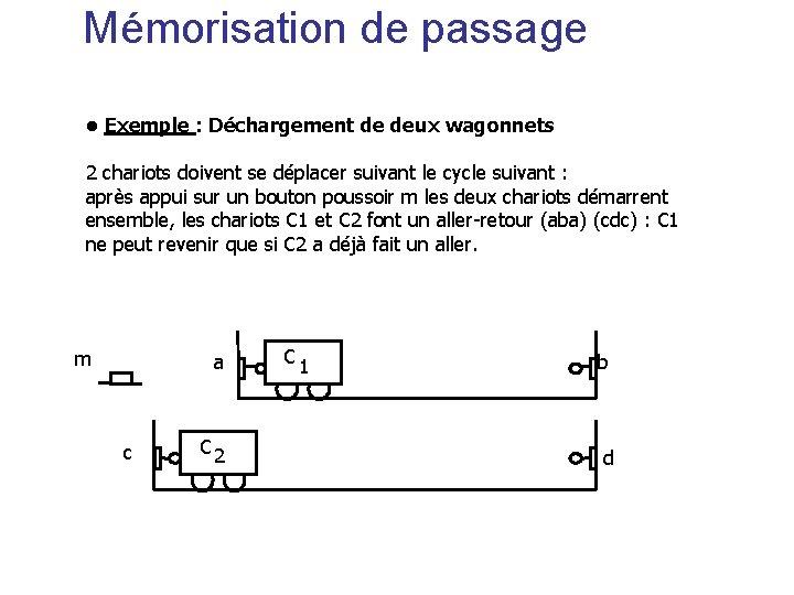 Mémorisation de passage • Exemple : Déchargement de deux wagonnets 2 chariots doivent se