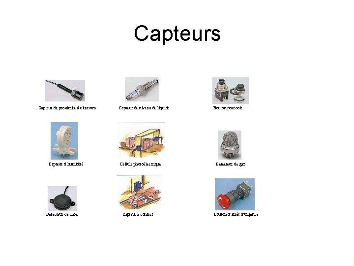Capteurs Capteur de proximité à ultrasons Capteur d'humidité Détecteur de choc Capteur de niveau