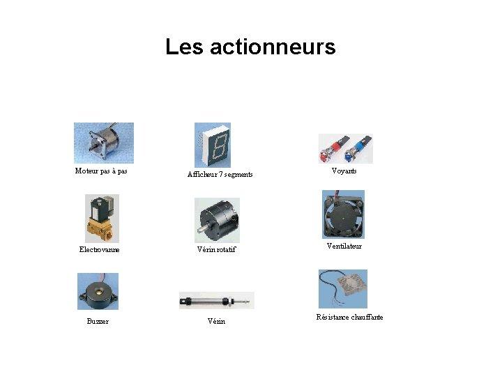 Les actionneurs Moteur pas à pas Afficheur 7 segments Electrovanne Vérin rotatif Buzzer Vérin