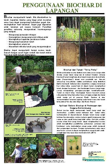 PENGGUNAAN BIOCHAR DI LAPANGAN Biochar memperbaiki tanah. Bila ditambahkan ke tanah, kapasitas biochar yang