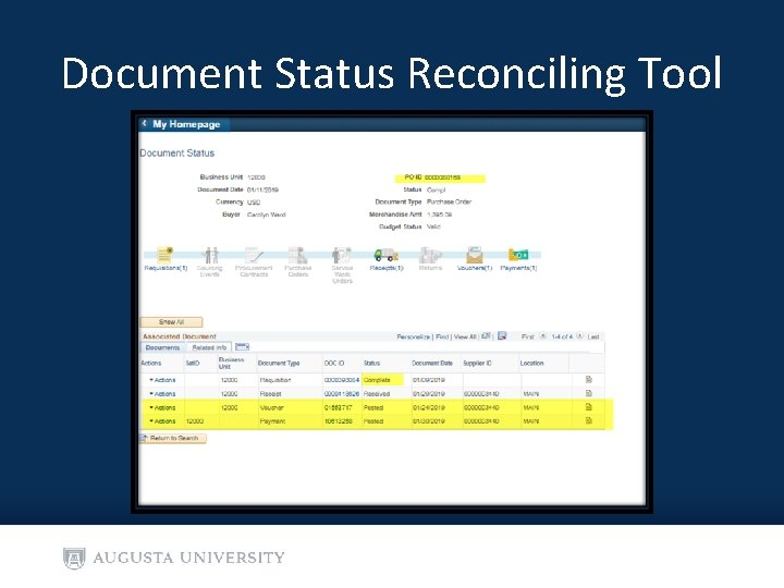 Document Status Reconciling Tool