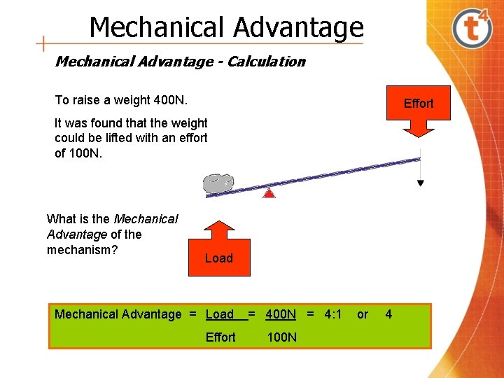 Mechanical Advantage - Calculation To raise a weight 400 N. Effort It was found