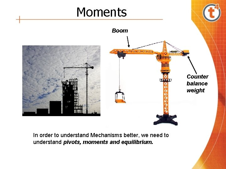 Moments Boom Counter balance weight In order to understand Mechanisms better, we need to