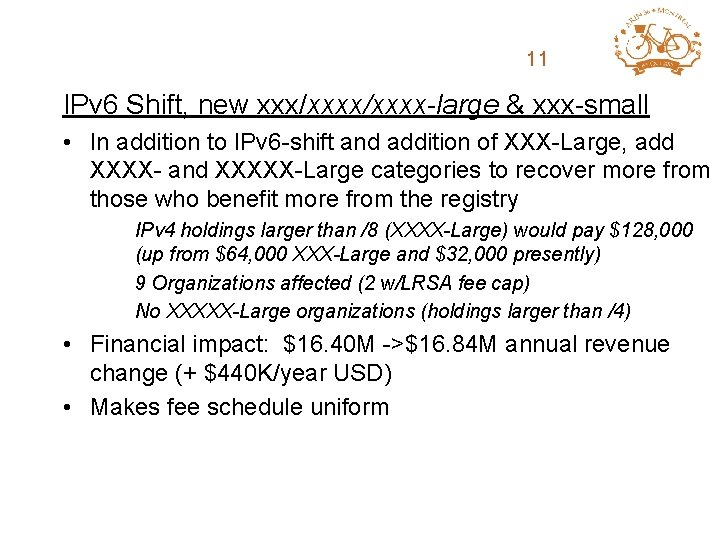 ARIN Fee Structure 11 Review IPv 6 Shift, new xxx/xxxx-large & xxx-small • In