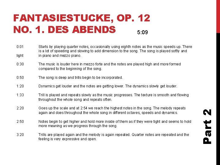 FANTASIESTUCKE, OP. 12 NO. 1. DES ABENDS 5: 09 light Starts by playing quarter