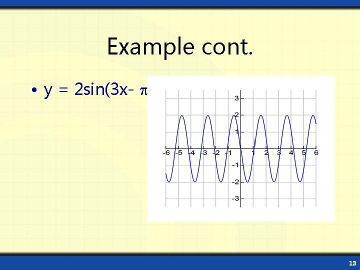 Example cont. • y = 2 sin(3 x- ) 13