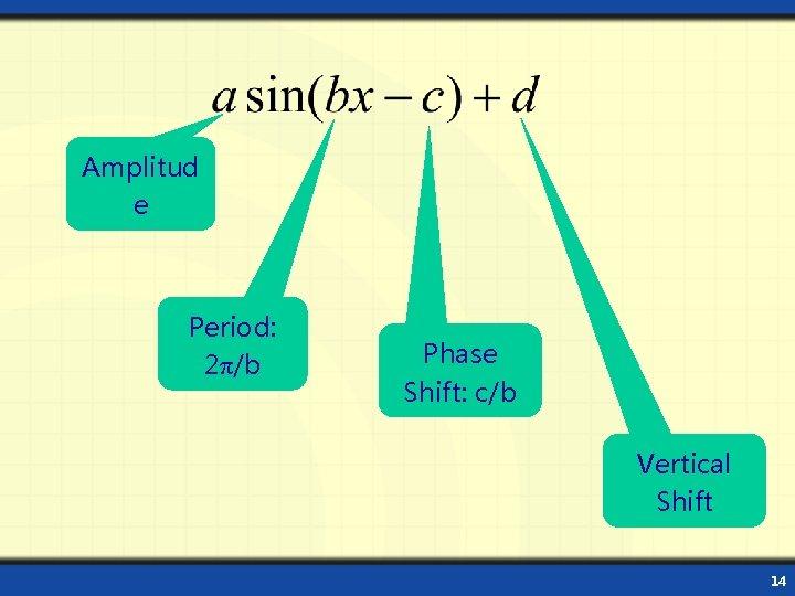 Amplitud e Period: 2π/b Phase Shift: c/b Vertical Shift 14